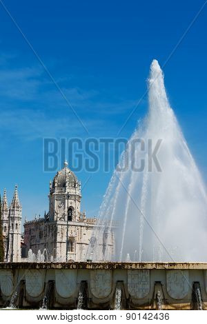 Jeronimos Monastery And Fountain Lisbon Portugal