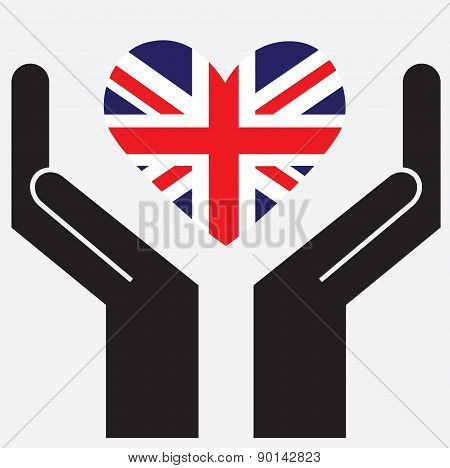 Hand showing United Kingdom flag in a heart shape.