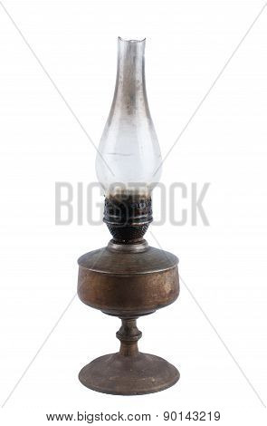 Vintage kerosene lamp isolated on white