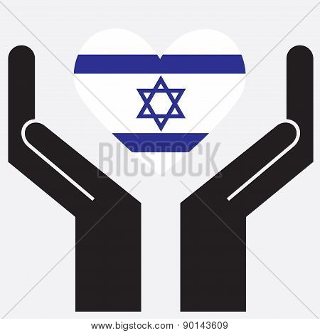 Hand showing Israel flag in a heart shape. Vector illustration.