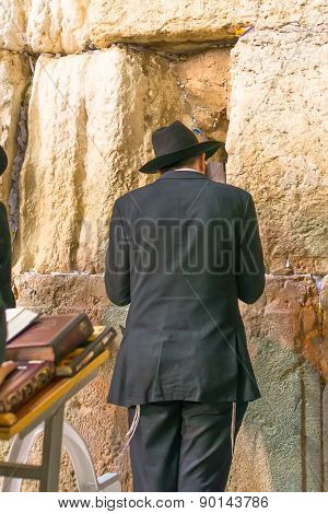 Jerusalem, Israel - April 25: Jewish Man Prays  The Wall Is The Holiest Place For Jewish People. All