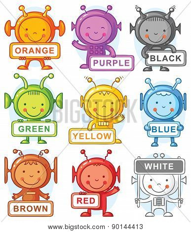 Cartoon Aliens Representing Colors