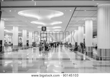 DUBAI, UAE - MARCH 26: Dubai Airport on March 26, 2013. It is world largest building by floor space and world largest airport terminal.