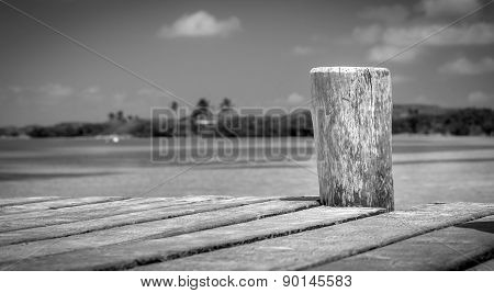 Wooden Pier On Tropical Island