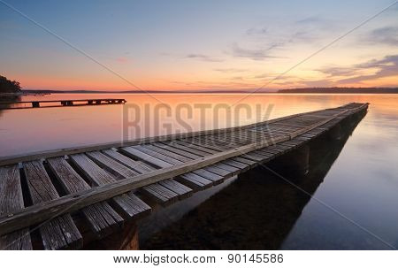 St Georges Basin Jetties At Sunset