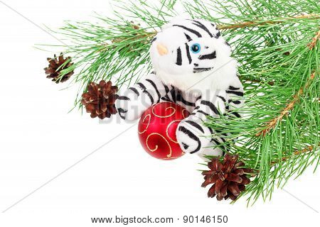 White tiger toy and decorations