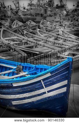 Blue Boat In Essaouira, Morocco