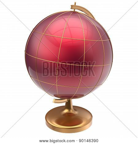 Red Globe Blank Planet Mars Global Geography