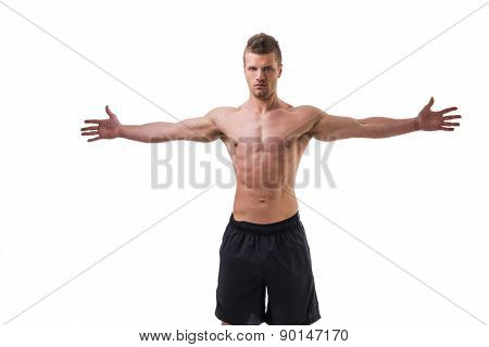 Young muscle man shirtless with arms spread open