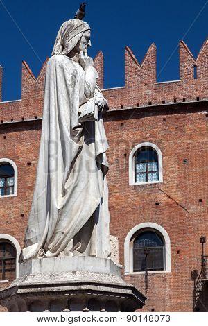 Statue Of Dante Alighieri In Verona