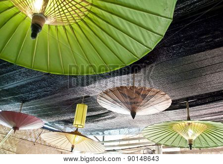 Under An Color Umbrella With Lighting Downlight