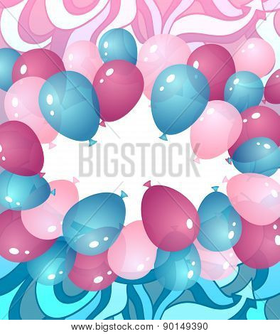 Background from balloons in blue pink lilac colors