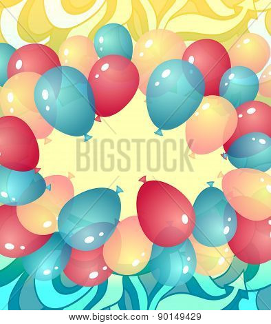 Background from balloons in blue red yellow colors