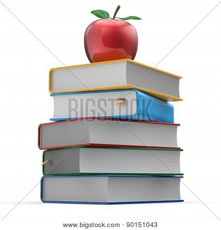Books Stack Colorful Red Apple Textbooks Education Symbol