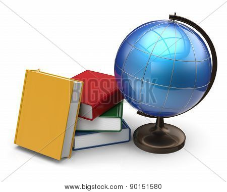 Books Globe Blank Global Geography Literature Learning Icon