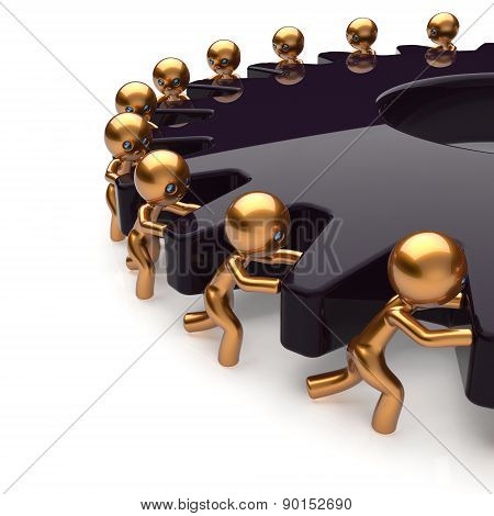 Team Work Partnership Business Men Turning Black Gear