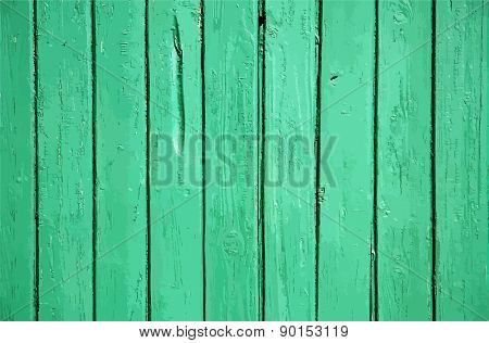 green painted wooden wall, vector
