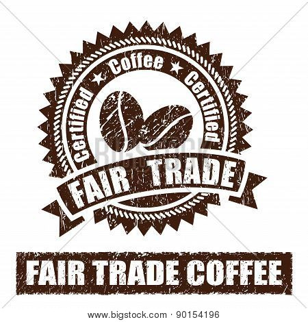 Fair Trade Coffee Rubber Stamp