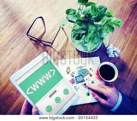 Digital Online World Wide Web Office Working Concept