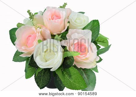 Decoration artificial flowers arrangement isolated on white background