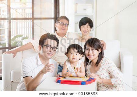 Portrait Of Asian Multi Generation Family