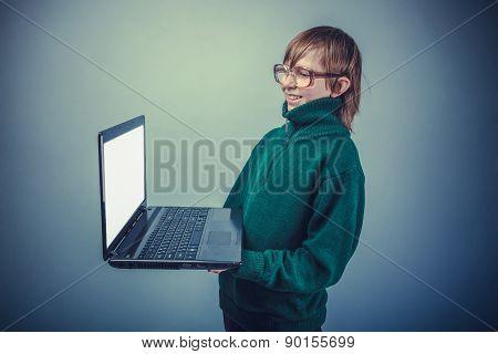 European-looking boy of ten years in glasses, it is worth lookin
