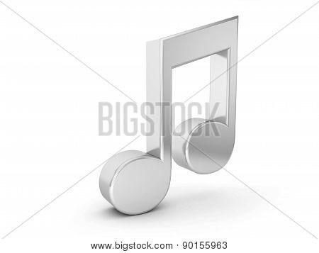 Silver Music Note Symbol