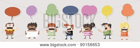 Colorful group of happy cartoon people talking with speech balloon