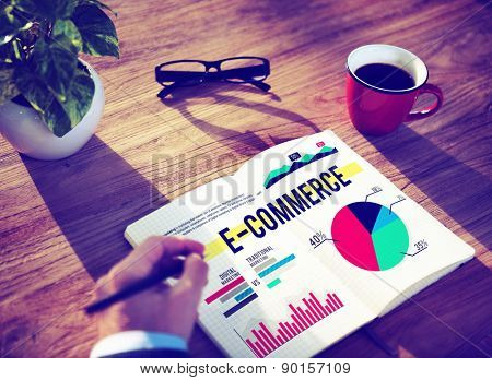 Businessman Hand Notes Writing E-commerce Concept