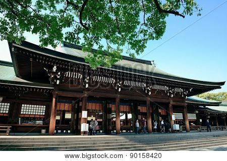 TOKYO, JAPAN - MAY 15: Meiji Jingu Shrine historical buildings on May 15, 2013 in Tokyo. Tokyo is the capital of Japan and the most populous metropolitan area in the world