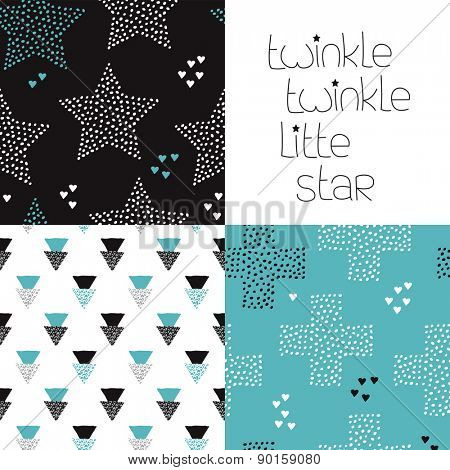 Cute kids geometric dreams and night theme with twinkle stars and crosses seamless background pattern and lettering wall decor design in vector