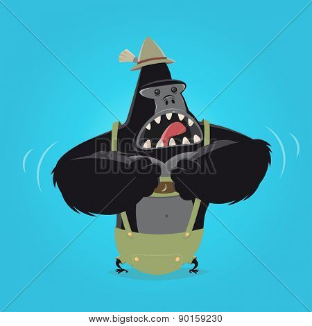 funny cartoon gorilla in bavarian lederhosen