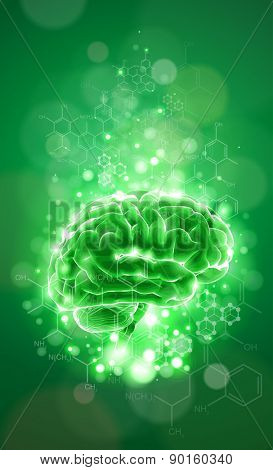 brain - green technology concept / vector illustration / eps10