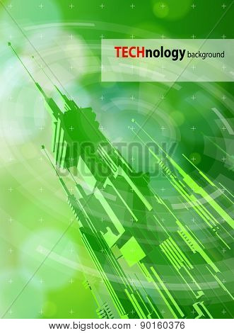 Ecology technology concept - futuristic metropolis, radial HUD elements & green bokeh abstract light background / vector illustration / eps10