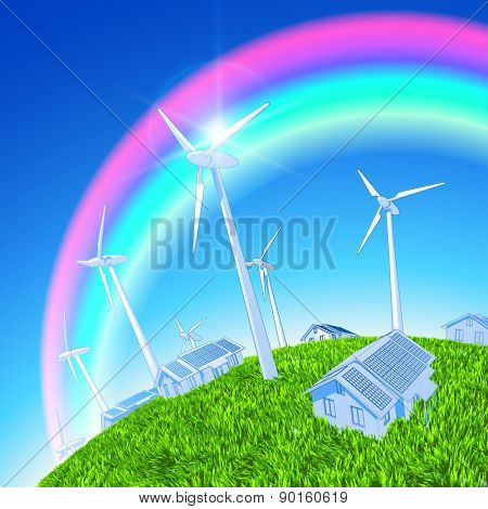 Environmental idyll - a house with solar panels, wind generators, green grass of the earth and the rainbow in the blue sky / vector illustration