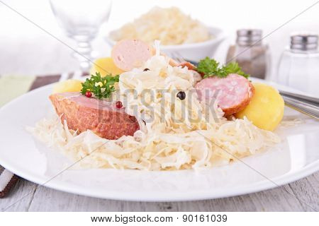 sauerkraut, meats and cabbage