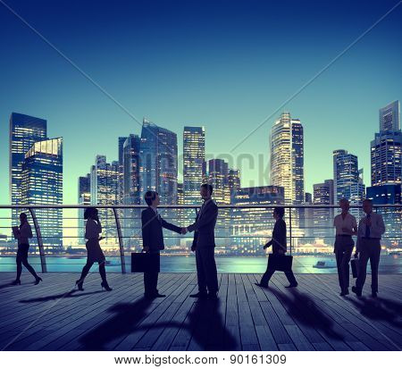Business People Colleagues Interaction Handshake Outdoors City Concept