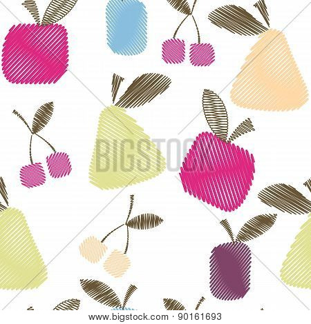 Seamless Decorative Pattern With Fruits, Bright Spring Or Summer Fabric