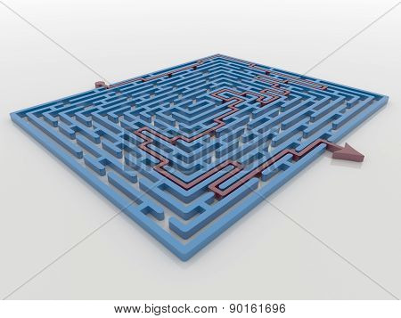 Red Arrow Path Across Blue Maze Labyrinth 3D Render, Solution Concept