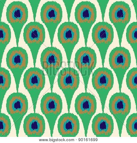 Seamless Pattern Peacock Feather Design Background