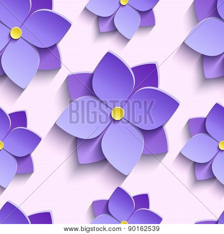 Seamless Pattern With Purple Summer Flowers Violets