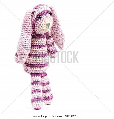 Funny Knitted Rabbit Toy Isolated On White