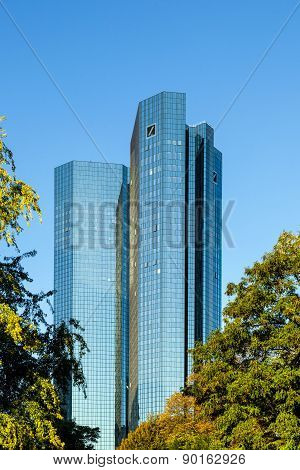 Frankfurt, Germany - Sep 30: In Front Are The 155 Meter High Twin Towers Deutsche Bank I And Ii On S