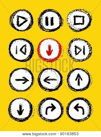 hand drawn media player buttons set vector illustration