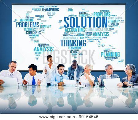 Solution Success Solved Decision Strategic Progress Concept