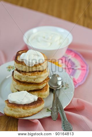 Delicious Homemade Pancakes With Sour Cream.