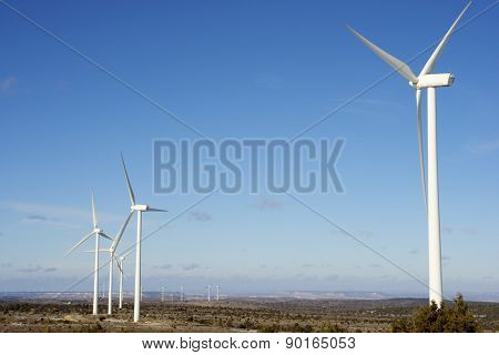 Windmills for electric power production, Maranchon, Guadalajara Province, Castilla La Mancha, Spain