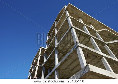 Reinforced concrete slabs of a residential building under construction.