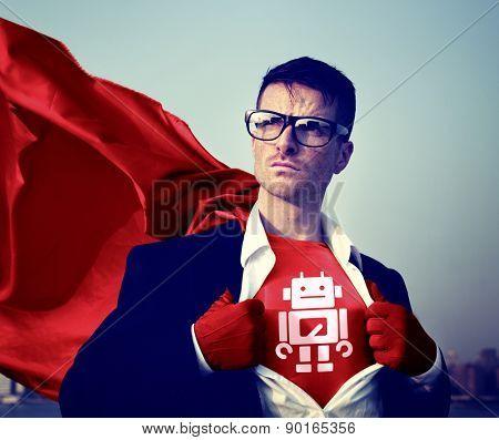 Robot Strong Superhero Success Professional Empowerment Stock Concept