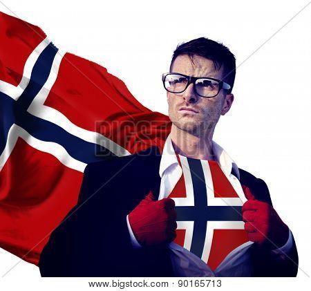 Businessman Superhero Country Norway Flag Culture Power Concept